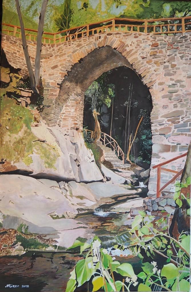 Il ponte nei pressi del mulino dove fu ucciso Licurgo Riccio dai gendarmi reali (da una tela del pittore Nicola Rizzo)