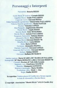 """Bagliori nell'Alba"""", rappresentazione teatrale - personaggi"""